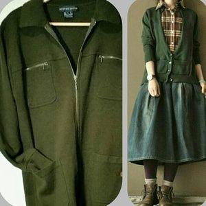 Vintage Andrea Jovine Military Green Zip Cardigan